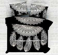Black & White Dream Catcher Bedspread Boho Bedsheet Throw Bedding Set Indian Art