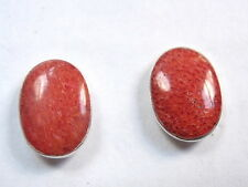 Genuine Red Coral Sponge 925 Sterling Silver Stud Oval Earrings