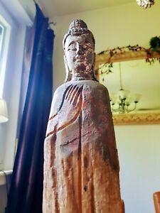 51cm Holz Buddha auf Metallsockel Treibholz geschnitzt Skulptur Figur Asien