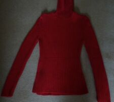 Super scarlet wool/cotton ribbed polo-neck sweater by Escada Sport size M