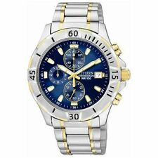 Citizen AN3394-59L Mens Two Tone Chronograph Quartz WR100 Date Blue Dial Watch