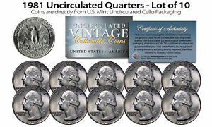 1981 US MINT QUARTERS Uncirculated Coins from U.S. Mint Cello Packs (QTY 10)