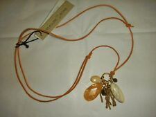 TREASURE&BOND  LEATHER NECKLACE with SEMI PRECIOUS STONES, ADJ LENGTH, NEW
