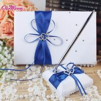 Wedding Guest Signature Book With Pen Sets Satin Fabric Butterfly Heart Pattern