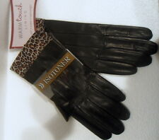 Isotoner leather womens gloves Panter cuffs size 8 Black  BNWT