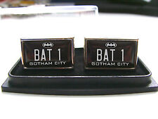 BATMAN BATMOBILE NUMBER PLATE BADGE MENS CUFFLINKS GIFT