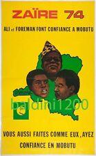 MUHAMMAD ALI v GEORGE FOREMAN - RARE VINTAGE BOXING POSTER PRINT - ZAIRE 1974