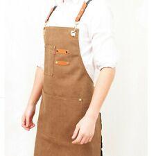 Unisex Denim Canvas Bib Apron Kitchen Baking Cooking Workwear Pocket Solid Brown