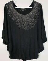 Esperanza Women's Top Size Medium M Black Sparkle Bling Flowy Shirt Blouse