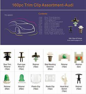 160 pc Audi Car Trim Clip Assortment Tray Box Set Universal General Use
