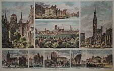 Danzig - Seltenes Souvenirblatt mit 9 Ansichten - 1874 - Gdansk - 9 views - Rare