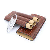 Brown Crocodile Leather Travel Cigar Case Holder with Cigar Cutter 3 Tube