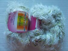 126 yds each lot of 2 light blue//white Celebi Purpur sparkly loop yarn