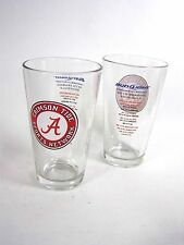 Pair ALABAMA CRIMSON TIDE SPORTS NETWORK BEER GLASSES--2010 Football Schedule