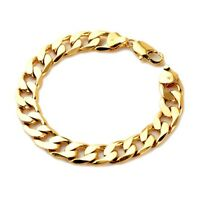 """Men's Bracelet 12mm Curb Link 18K Yellow Gold Filled 8.2""""Chain Fashion Jewelry"""