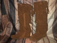 Suede Fringe Studded Buckle Wedge Boots By Natural Breeze Camel Color Size 10