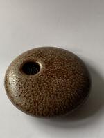 2006 Georgetown Pottery Flower Frog Round Ikebana Vase - Brown Over Moss Green