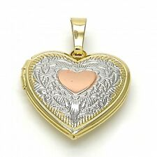 New 9CT Gold Filled Three Tones Locket Pendant, Heart and Flower Design B106