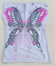CHEROKEE Girls Grey Butterfly 100% Cotton Short Sleeved T Shirt 9 - 10 Years