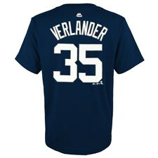 Majestic Justin Verlander Detroit Tigers Youth Navy Player Name & Number T-shirt Yth XL