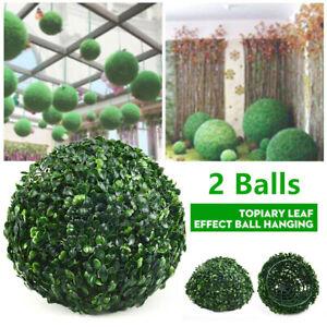 2 x Artificial Hanging Topiary Green Balls Faux Boxwood Plant Garden Patio Decor