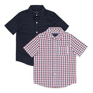 French Toast Boys Short Sleeve Woven Shirt 2 Pack, Dark Navy Stars/White Plaid