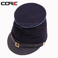 Civil War Forage Infantry Bummer Kepi, Navy/Sky Piping McDowell Leather Peak Hat