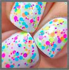Fun Zone - neon polka dots -Custom-Blended Indie Glitter Nail Polish / Lacquer