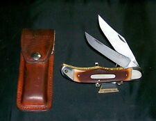 Schrade 25OT Knife & Sheath Circa-1970's Old Timer Hunters Folding Bowie Knives