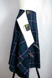 P808i49 Geoffrey (Tailor) Scotish Vintage Tartan Green Wool Kilt Skirt, XS 29in