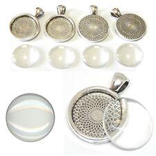 6 SET Cabochon Klar Glas 20mm Silber Fassungen Rund Anhänger Medaillons DIY