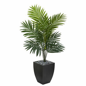 Kentia Palm Artificial Tree In Black Wash Planter Nearly Natural 4.5' Home Decor