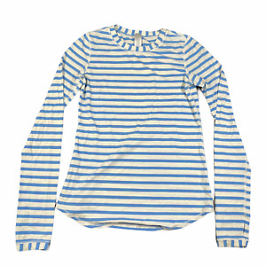 ivivva Striped Tee T Shirt Top Girls Youth 12 Blue White Long Sleeve Crew Neck