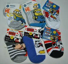 Lot 6 Pair Minion/Mickey/Paw Patrol Toddler Boy Socks Size 5-6.5 Shoe 5.5-8.5