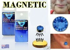 Earring Jewellery Magnetic BLUE Gem Fake Ear Stud Nose Lip Ring FREE POST  B