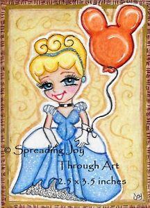 ACEO Nibblefest NFAC oRiGiNaL Joy Fan Cinderella Disney Princess Mickey Balloon