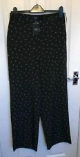 bnwt NEXT TROUSERS UK 10L WIDE PALAZZO BLACK  SILVERY HEARTS SILKY VALENTINE