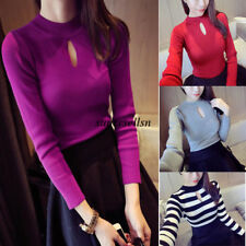 Korean Women Striped Solid Slim Long Sleeve Cut Out Bottom Shirt Knit Top Blouse