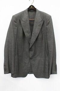 Tom Ford Gray Tweed Silk Linen Blend Blazer Suit Jacket Size 56 R