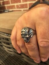 Tattoo Shop Biker Outlaw Freemason-Masonic Ful Skull Silver Mens Ring Size 12