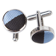 DQT Brass Fabric Inlay Cuff Links Striped Baby Blue & Black Mens Cufflinks