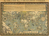 Early Time and Tide Map The Atlantic Charter Wall Poster Print History Vintage