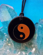 SOLID RUSSIAN BLACK SHUNGITE YIN YANG SYMBOL PENDANT WITH CHAIN,  EMF PROTECTION