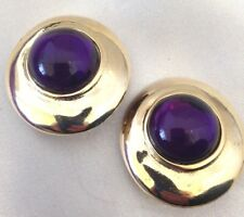 Signed Paolo Gucci Earrings Gold Purple Cabochon Clip On Vintage 7C