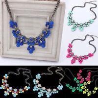 Women Crystal Flower Pendant Necklace Choker Craft Fashion Jewelry Gift Decor