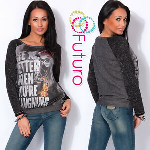 Ladies Jumper With Pockets LIFE Print Tunic Sweat T-Shirt Top Sizes 8-14 FW54