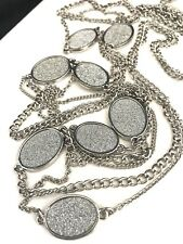 Boutique Necklace Silver Glimmering Long Multi Strand Premier Urban Chic 1U