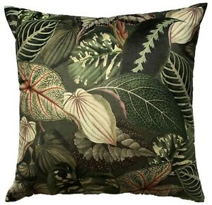 Aloe Velvet Cushion Cover Botanical Tropical Leaves Forever Green Ficus Plants