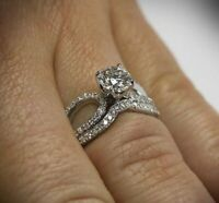 wow 14k white gold over bridal weds engagement ring set 2.50ct round cut diamond