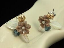 Gold Ladybug flower leaf crystal beads shell silver tone stud earrings lady F96